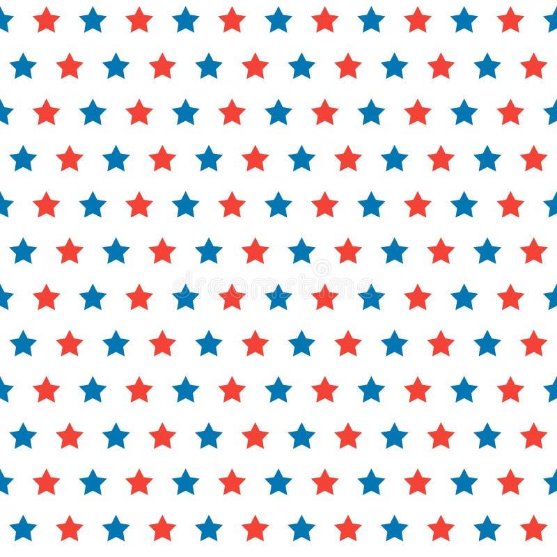 Lycklig självständighetsdagenvektormodell med mycket röda och blåa stjärnor på vit bakgrund stock illustrationer