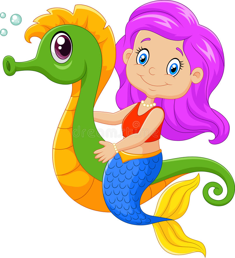 Lycklig sjöjungfrusimning för tecknad film med seahorsen royaltyfri illustrationer