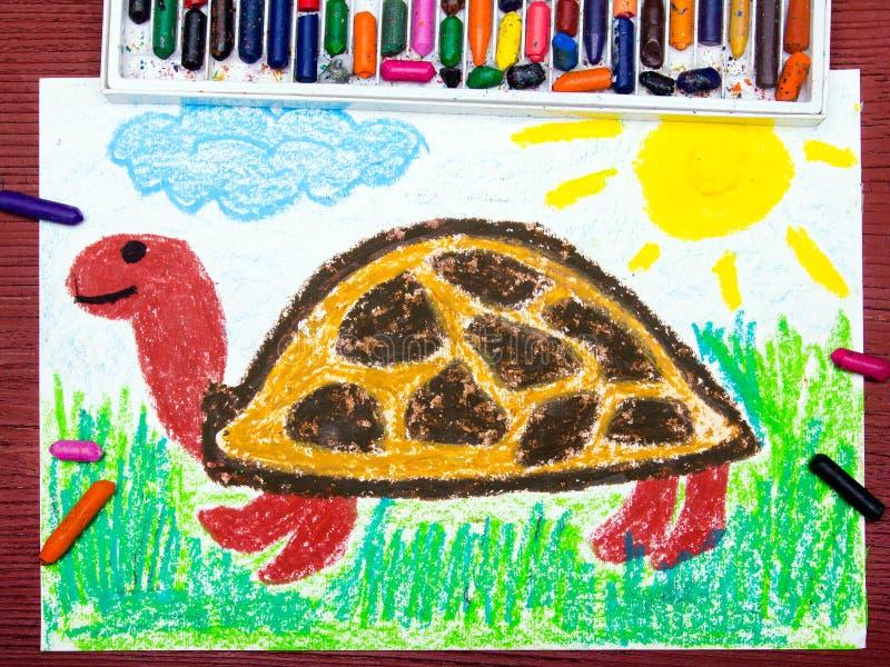 Lycklig sköldpadda på gräset stock illustrationer