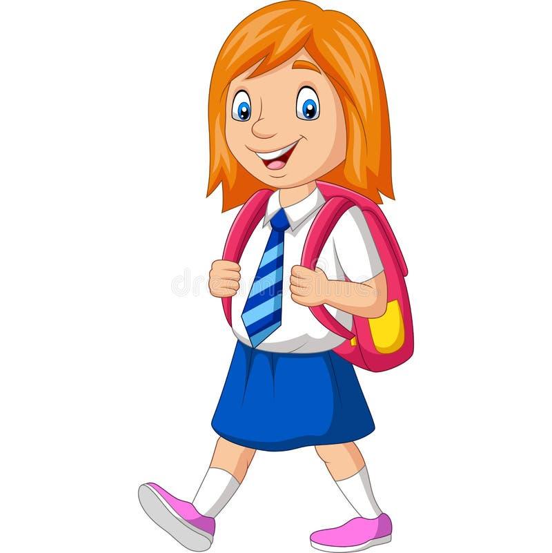Lycklig skolaflicka för tecknad film i bärande ryggsäck för likformig stock illustrationer