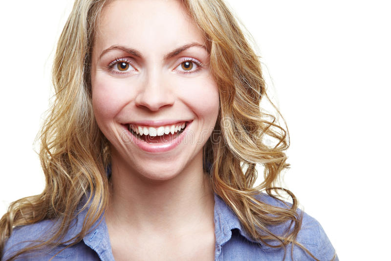 Lycklig skratta attraktiv kvinna fotografering för bildbyråer