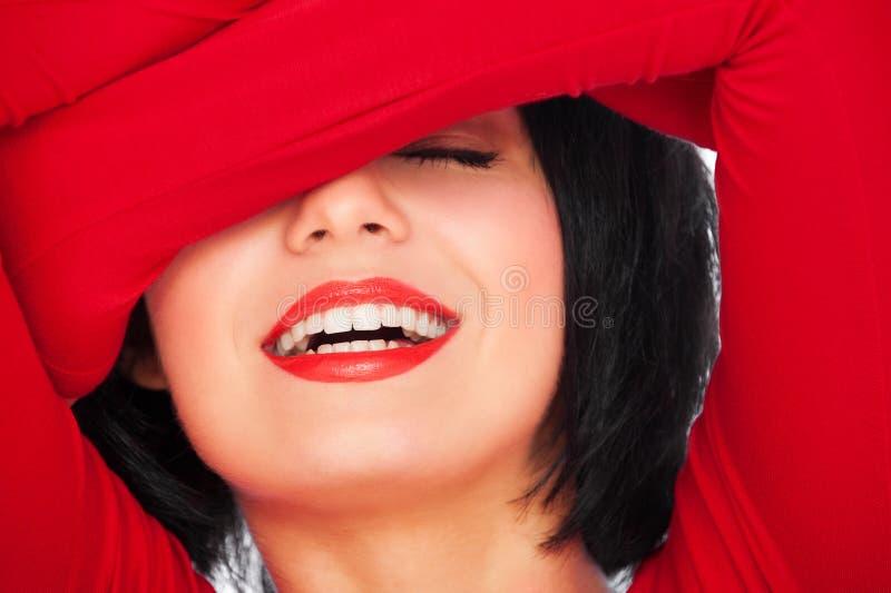 lycklig skratta kvinna arkivfoto