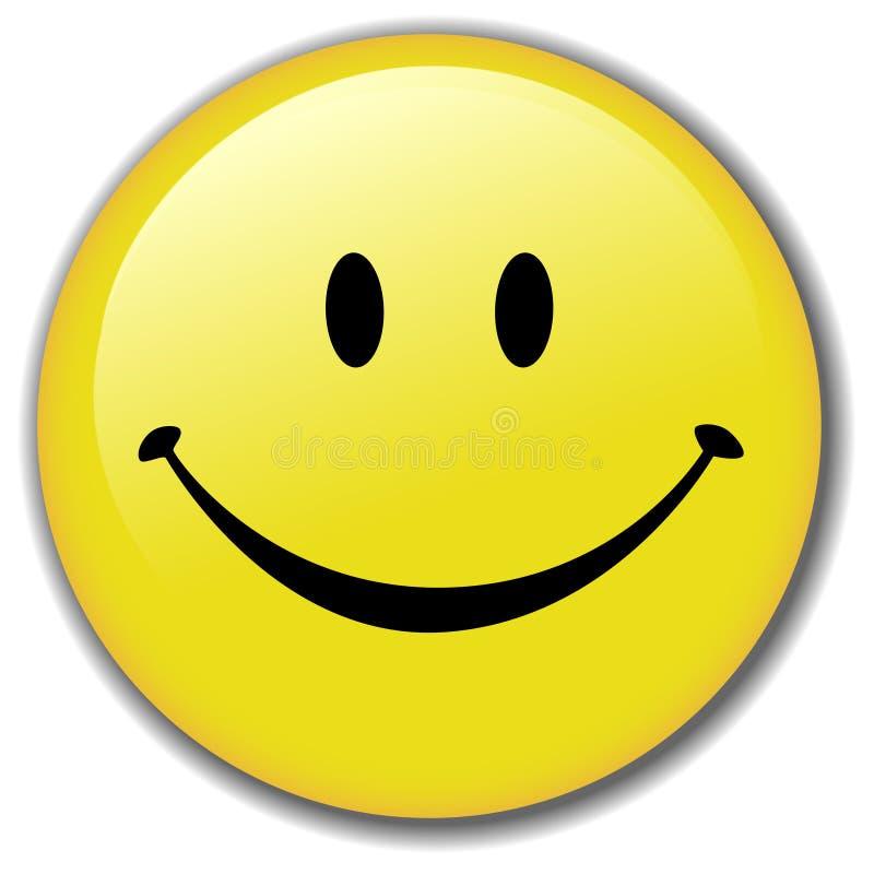 lycklig smiley för emblemknappframsida vektor illustrationer