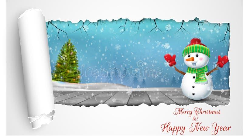 Lycklig snögubbe på träjulbakgrunden med begreppsvikningpapper stock illustrationer