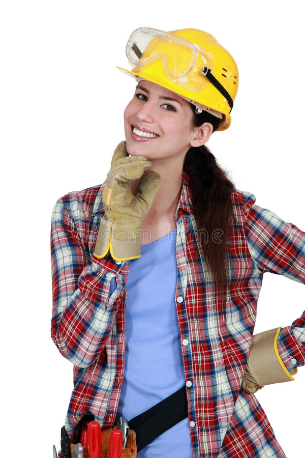 lycklig snickarekvinnlig arkivfoton