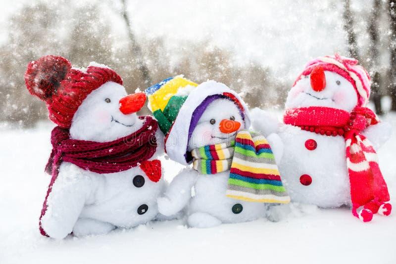 lycklig snowman för familj royaltyfri bild