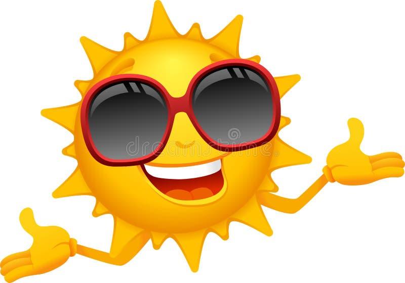 Lycklig soltecknad film stock illustrationer