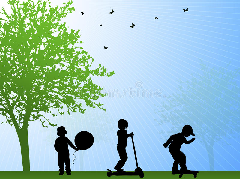 Lycklig sommar för ungar utomhus vektor illustrationer