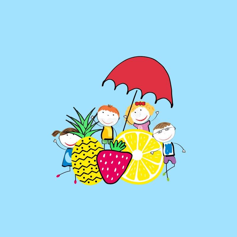 Lycklig sommar - tid för barn vektor illustrationer