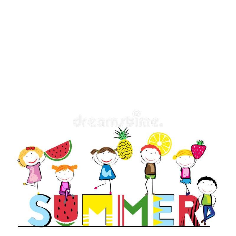 Lycklig sommar - tid för barn stock illustrationer
