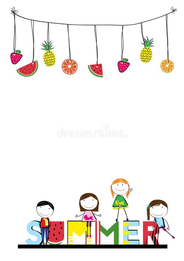 Lycklig sommar - tid för barn royaltyfri illustrationer