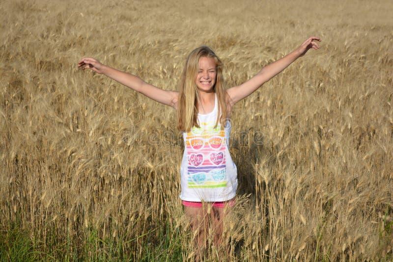Lycklig sommarflicka i vetefält arkivbild