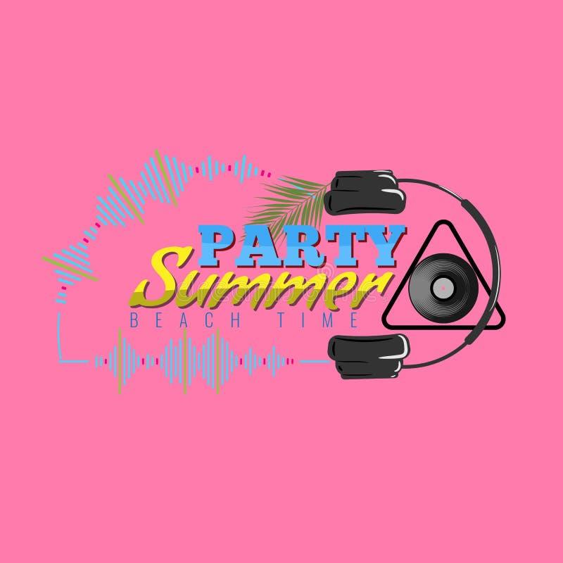 Lycklig sommarpartilogo med symbolen för headphone och för solid våg Dj-konsertaffisch också vektor för coreldrawillustration vektor illustrationer