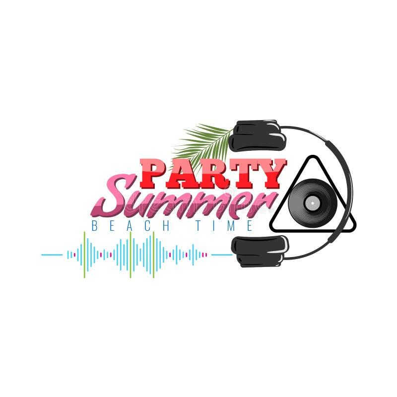 Lycklig sommarpartilogo med symbolen för headphone och för solid våg Dj-konsertaffisch också vektor för coreldrawillustration stock illustrationer