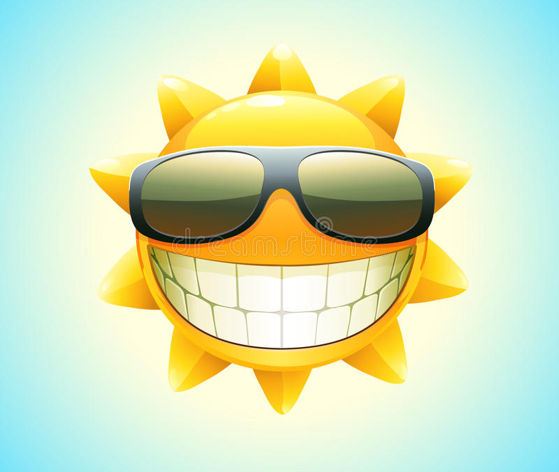 lycklig sommarsun vektor illustrationer