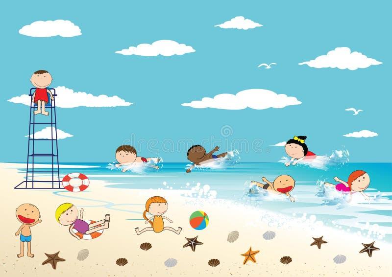 lycklig sommartid vektor illustrationer