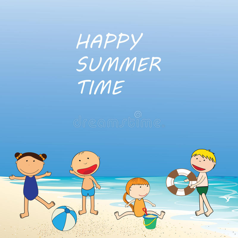 lycklig sommartid royaltyfri illustrationer