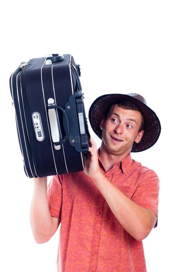 Lycklig spännande manhandelsresande med bagage arkivfoton