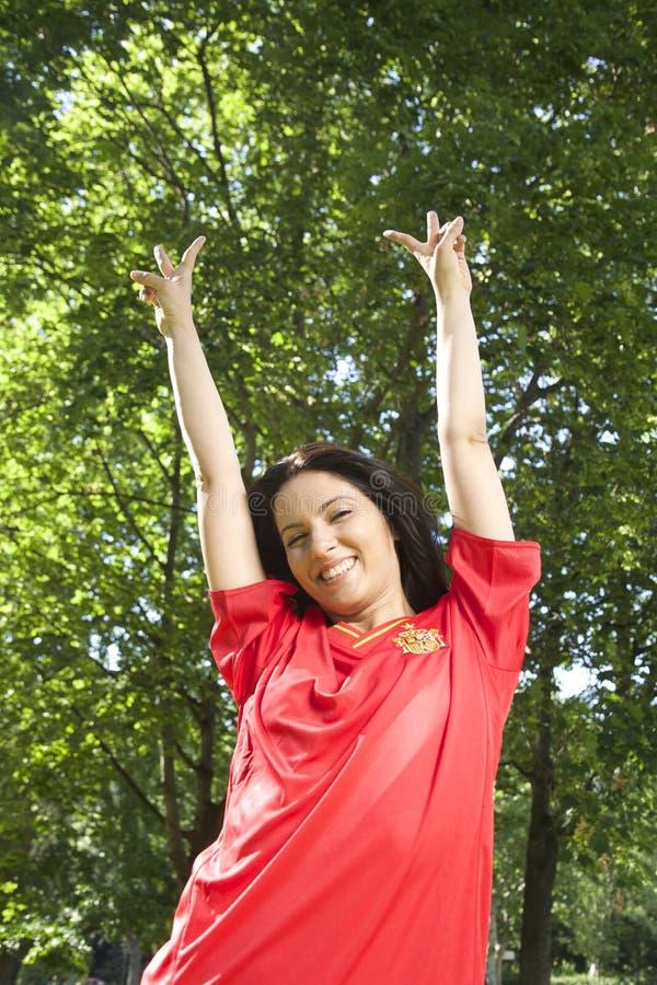 Lycklig spansk fotbollsupporter royaltyfri fotografi