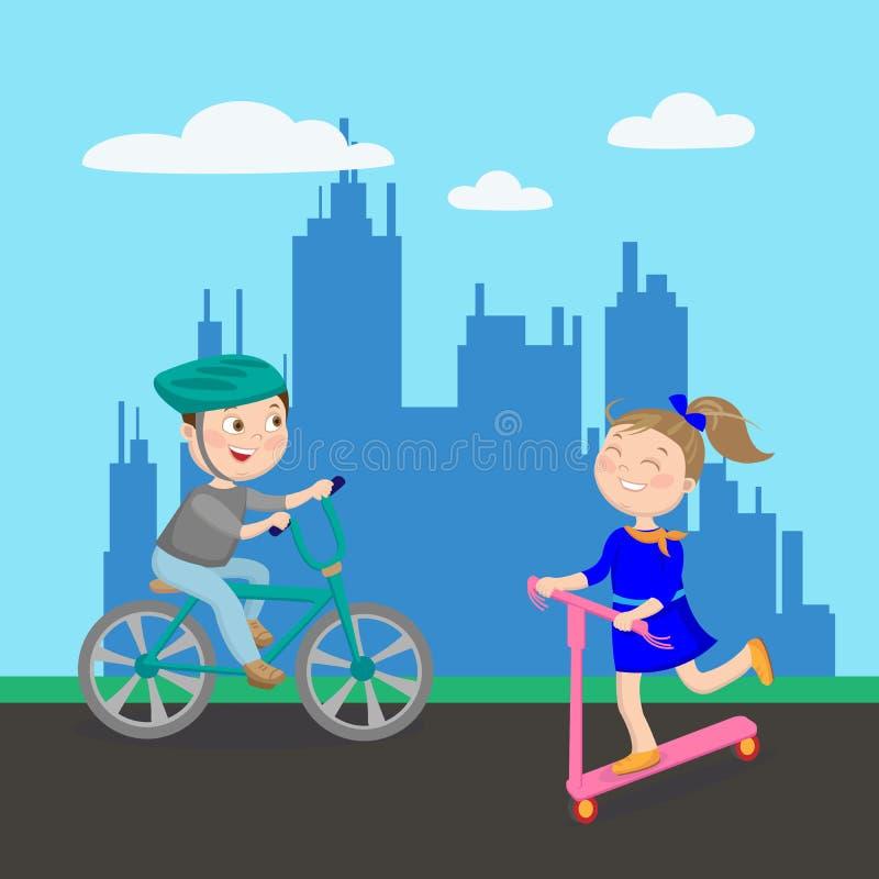lycklig sparkcykel för flicka Pojken i jeans och en röd T-tröja som rider en cykel Ungar som spelar i staden royaltyfri illustrationer
