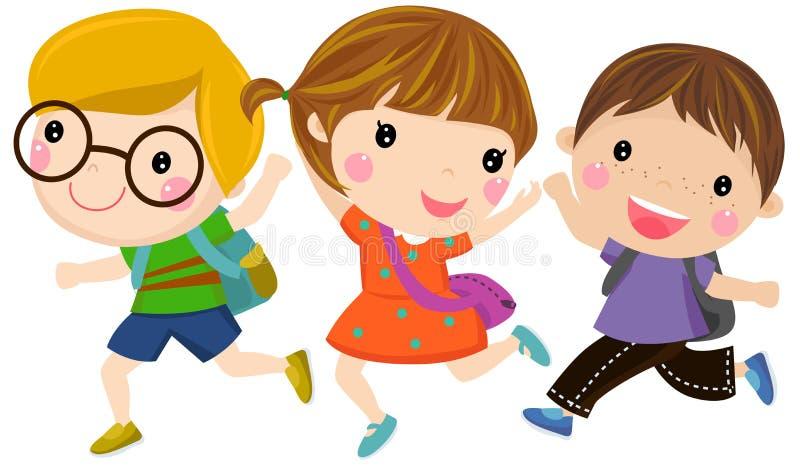 Lycklig spring för barn till skolan vektor illustrationer