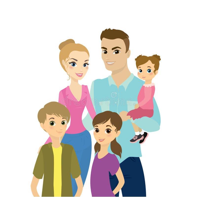 lycklig stående för familj vektor illustrationer