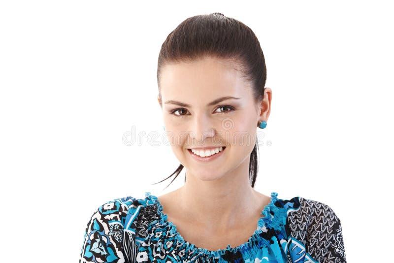 lycklig ståendekvinna royaltyfri bild