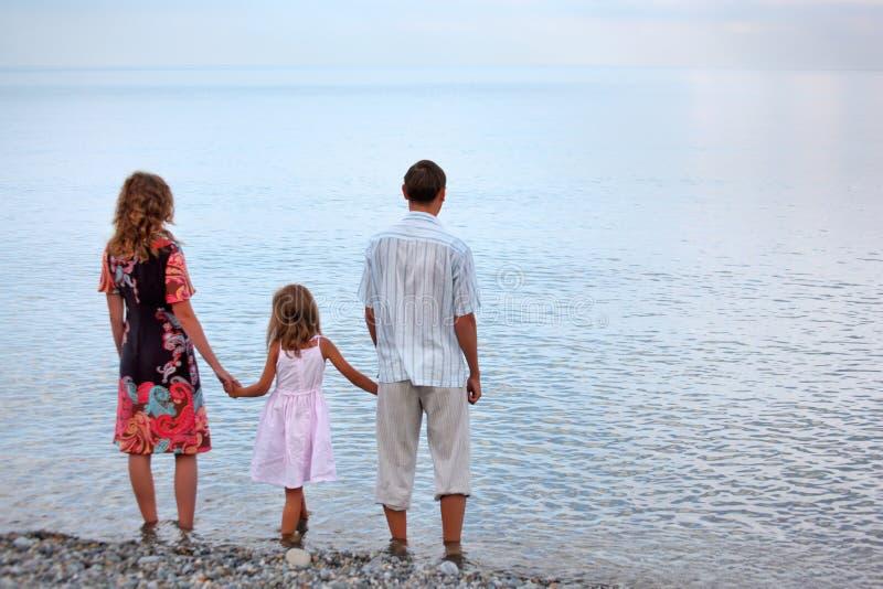 lycklig standing för strandaftonfamilj royaltyfri bild