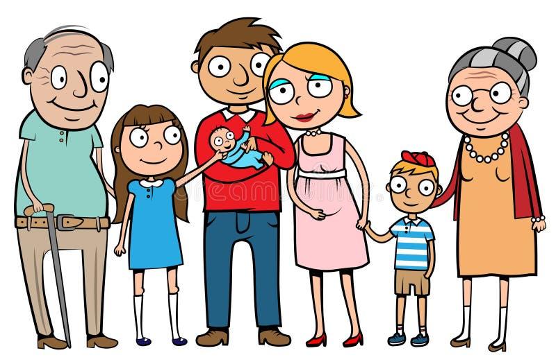 lycklig stor familj royaltyfri illustrationer
