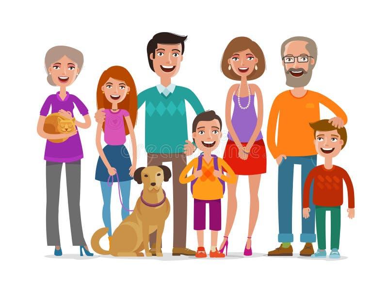 lycklig stor familj Grupp människor-, förälder- och barnbegrepp den främmande tecknad filmkatten flyr illustrationtakvektorn vektor illustrationer