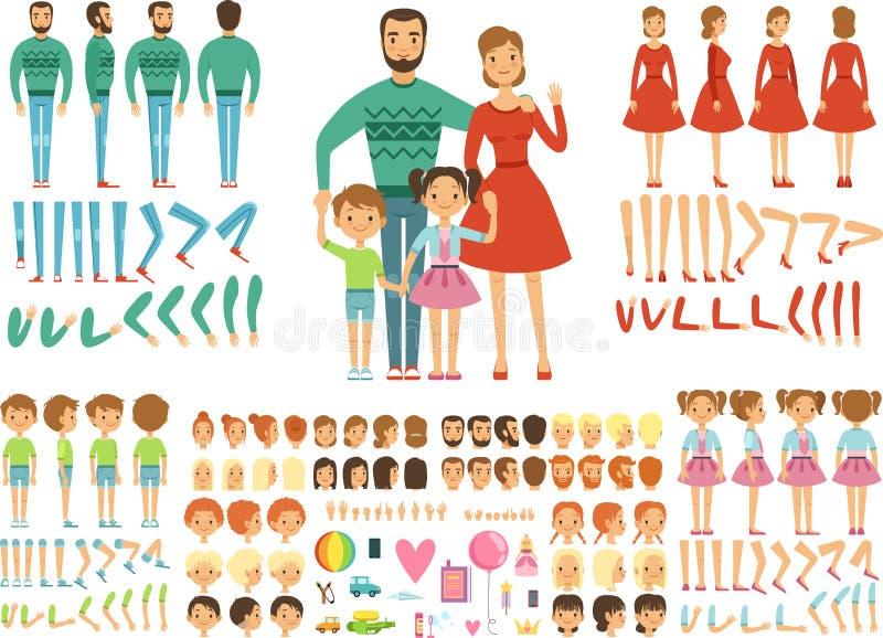 lycklig stor familj Moder, fader och barn Maskotskapelsesats Roliga par med ungar royaltyfri illustrationer