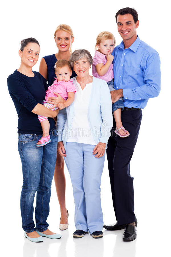 Lycklig storfamilj royaltyfria foton