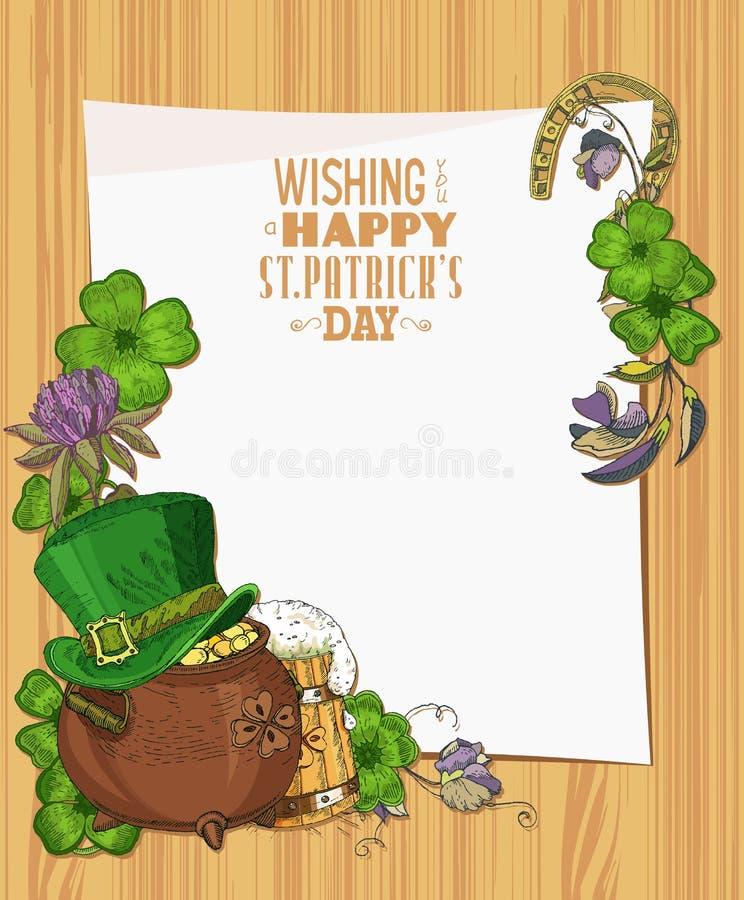 Lycklig Sts Patrick dagmall Trätexturbakgrund med växt av släktet Trifolium Papper vektor illustrationer