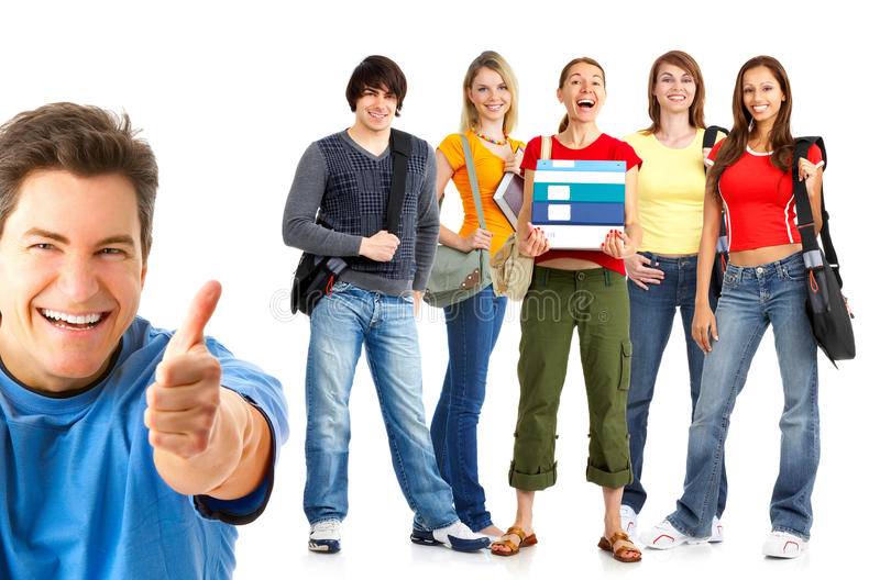 Lycklig studentgrupp royaltyfria foton
