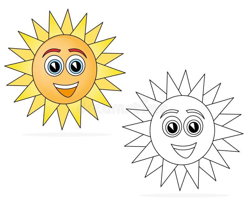 lycklig sun för tecknad film stock illustrationer