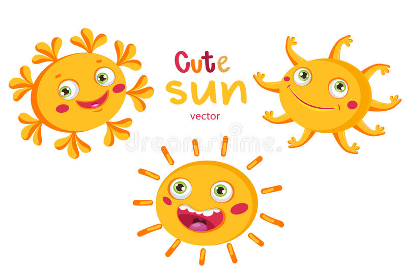 lycklig sun Ställ in den olika solen för tecknade filmen white för vektor för bakgrundsillustrationhaj Roliga lyckliga smileysola vektor illustrationer