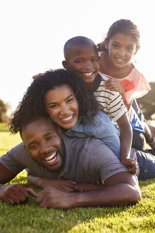 Lycklig svart familj som utomhus ligger i en hög på gräs royaltyfri fotografi
