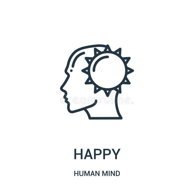 lycklig symbolsvektor från samling för mänsklig mening Tunn linje lycklig illustration för översiktssymbolsvektor Linjärt symbol  royaltyfri illustrationer
