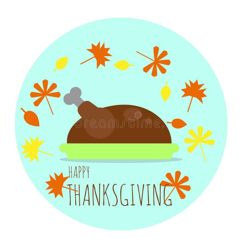 Lycklig tacksägelse Turkiet på plattan med stupade Autumn Leaves stock illustrationer