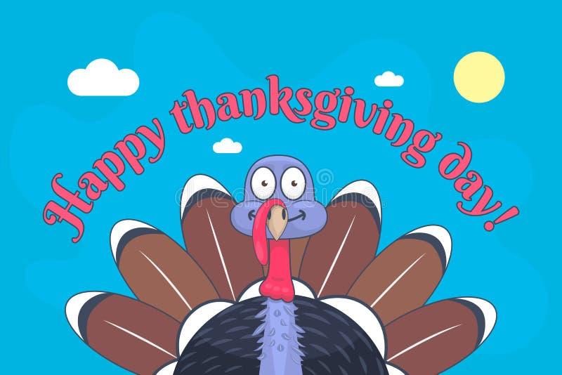 Lycklig tacksägelsedag och gullig kalkon med stora ögon royaltyfri illustrationer