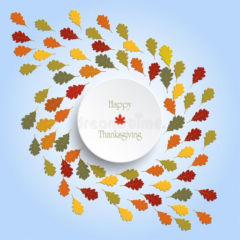 Lycklig tacksägelsedagbakgrund med färgrika trädsidor för höst stock illustrationer