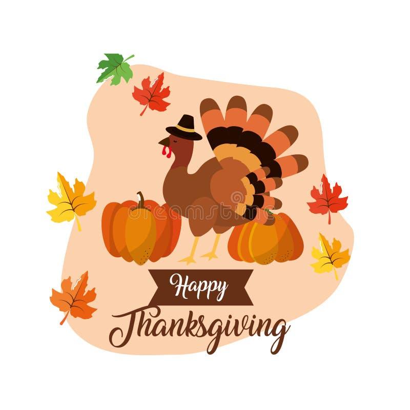 Lycklig tacksägelsedagdesign stock illustrationer