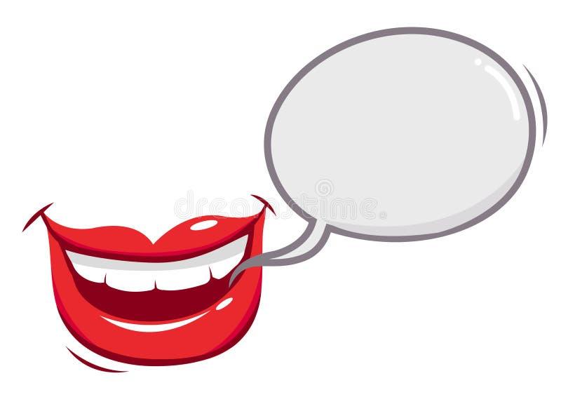 Lycklig talande munanförandeballong stock illustrationer