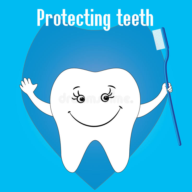 Lycklig tand och tandborstar, tandskydd vektor illustrationer
