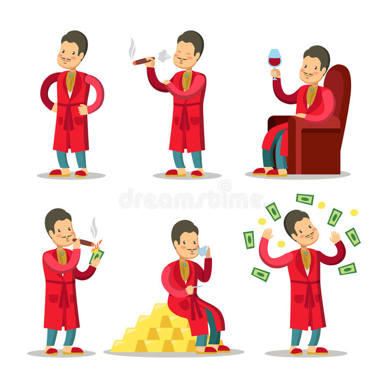 Lycklig tecknad film Rich Man med pengar och cigarren lyckad affärsmanpensionär vektor illustrationer