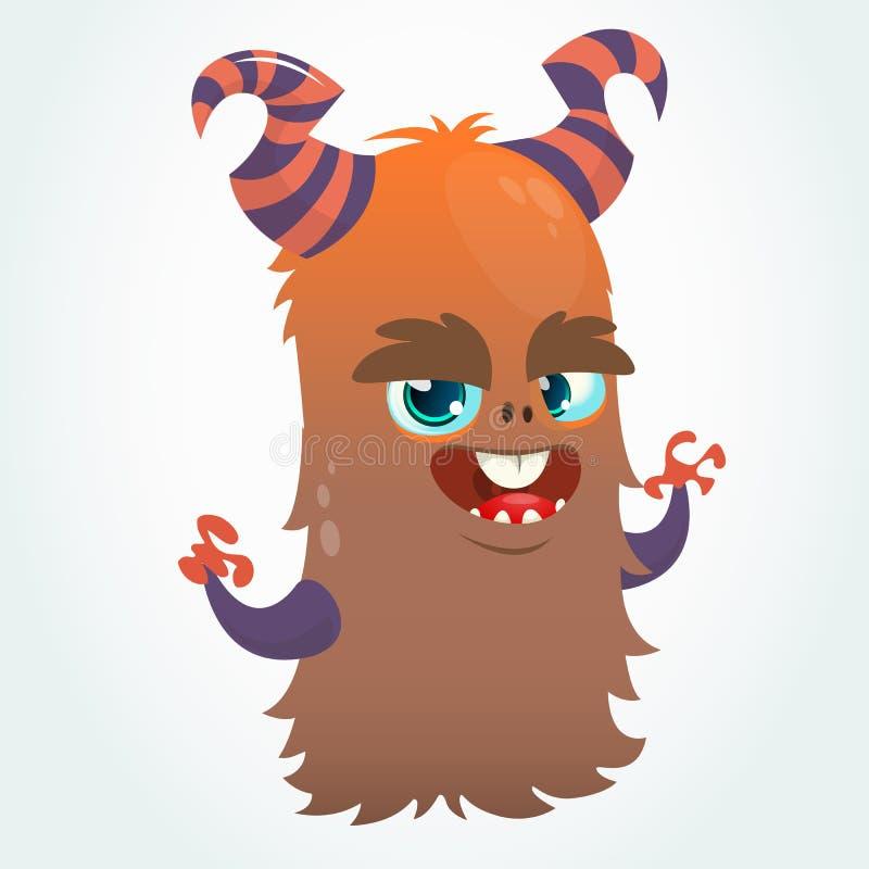 Lycklig tecknad filmapelsin och fluffigt horned monster Maskot för allhelgonaaftonvektortecken royaltyfri illustrationer