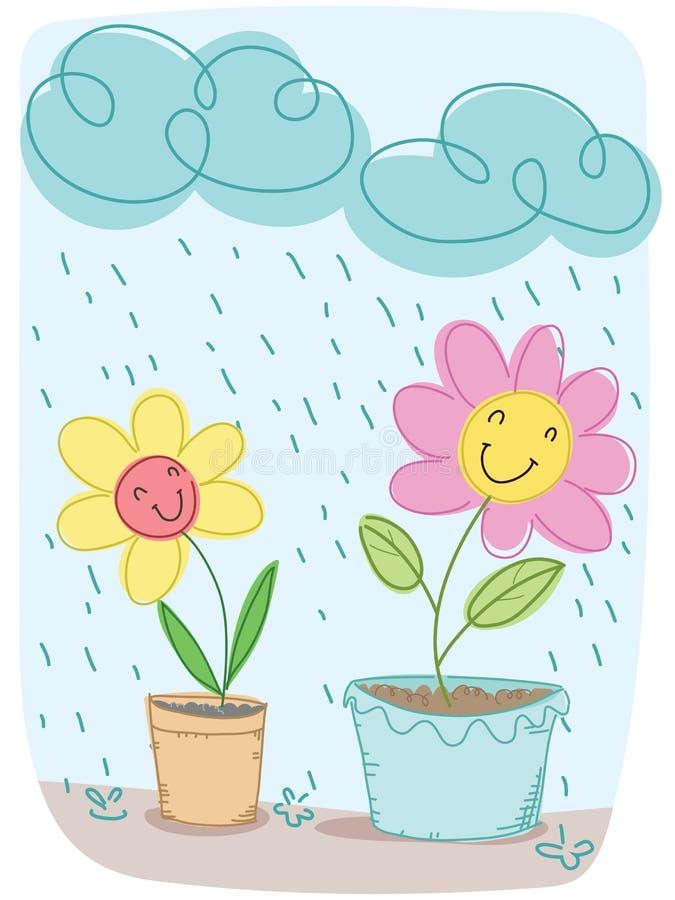 Lycklig tecknad filmblomma vektor illustrationer