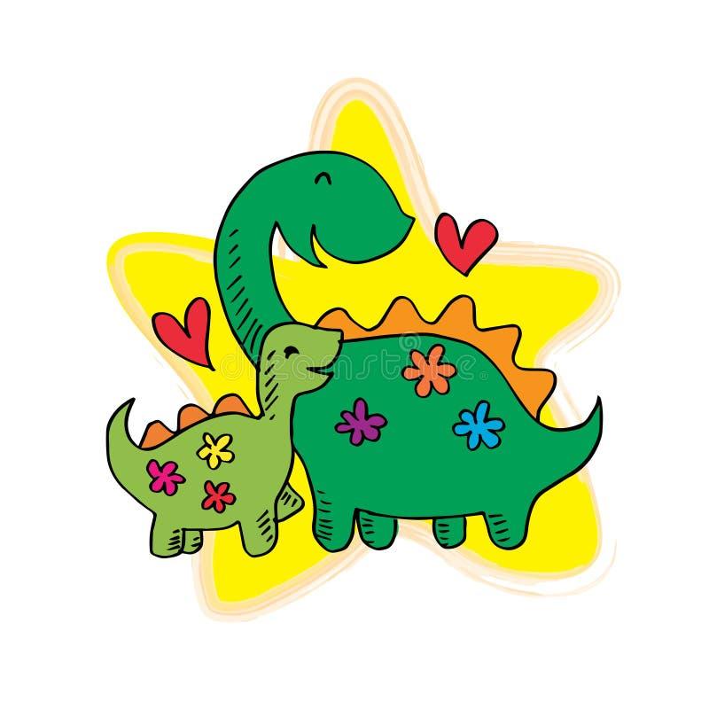 Lycklig tecknad filmdinosaurie vektor illustrationer