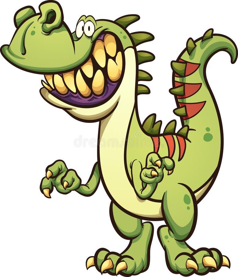 Lycklig tecknad filmdinosaurie med toothy leende stock illustrationer