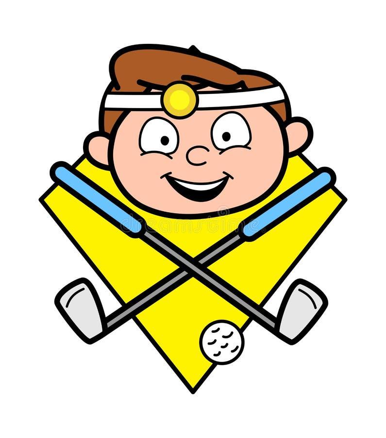 Lycklig tecknad filmdoktor Face med golfpinnen och bollvektorn royaltyfri illustrationer